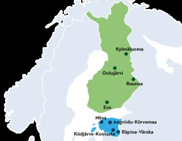 En karta över Finland och Estland med strövområden markerade