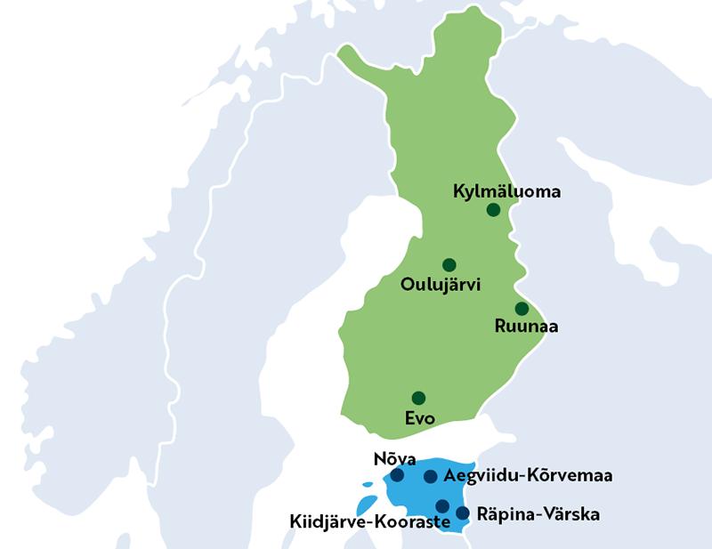 Karttakuva Suomesta ja Virosta