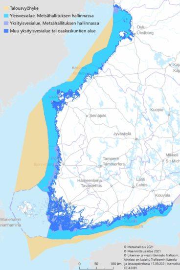 Suomen kartta, johon on merkitty merialueen hallinnointi yksityisillä ja yleisillä vesialueilla sekä Suomen talousvyöhyke merellä.