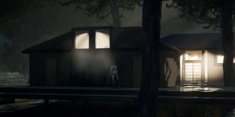 Havainnekuva saunamaailmasta illan hämärtyessä.